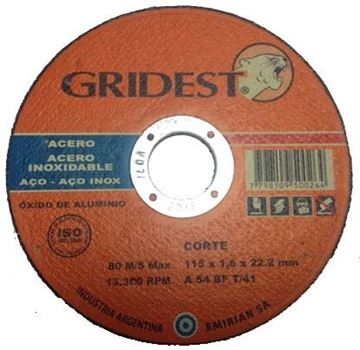 Imagen de Disco Corte Metal Amoladora  4.5 Pulgadas 1.6mm Gridest Arg.