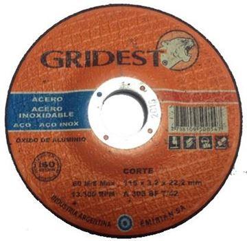 """Imagen de Disco Corte Metal 4.5"""" x 3.2mm Gridest"""