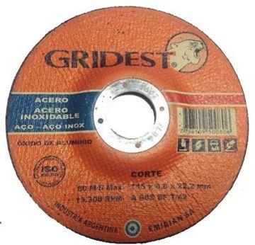Imagen de Caja 50 Discos Corte Metal 4.5 Pulgadas 0.8mm Gridest Arg.