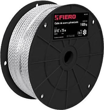 Imagen de Cable Acero galvanizado 3/16 pulgada 7x19 rollo 75mt FIERO