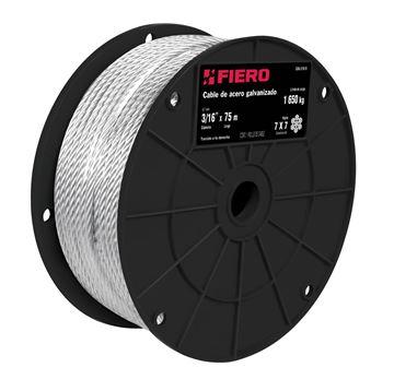 """Imagen de Cable Acero galvanizado 3/32"""" 7x7 FIERO CAB-3/32R (venta múltiplo 75 mts)"""