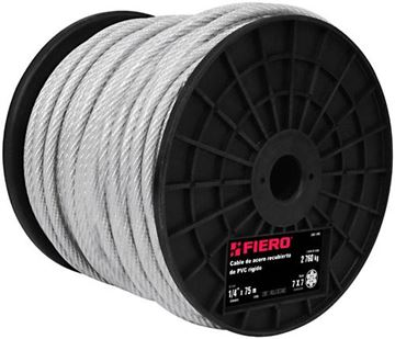 """Imagen de Cable acero forrado pvc 3/32"""" 7x7 rollo75mt FIERO (precio por metro)"""