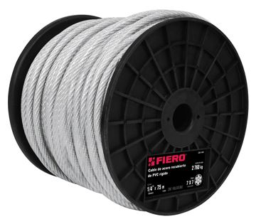 """Imagen de Cable acero forrado pvc 1/16"""" 7x7 rollo 75mt FIERO (precio x metro)"""