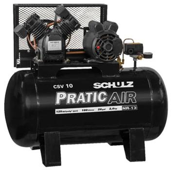 Imagen de Compresor 100lt 2HP Pratic Air Monofásico Schulz CSV-10/100