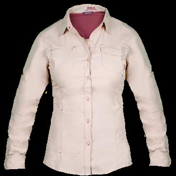 """Imagen de Camisa beige(mujer)INKA KAKHI,100% Nylon,Talle:L """"HARDWORK"""""""
